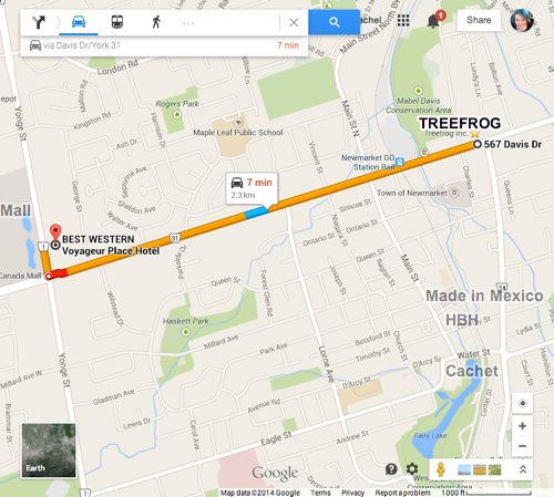 Map of Newmarket showing Treefrog, Hotel, and Group Dinner locations